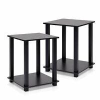 1Pair End Tables Corner Shelves Storage,Cherry/Black Bedroom Nightstand,Furninno