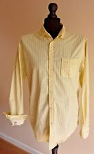 St George by Duffer - Men's Long Sleeve Shirt Yellow Stripe - Size Large