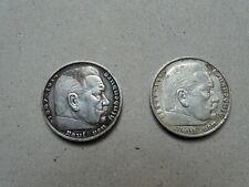 2 x 5 reichsmarks 1936 argent silver coin German eagle Paul von Hindenbourg