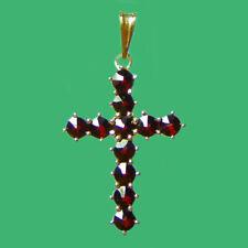 Bohemian Rose Cut Garnet 14K Solid Gold Cross Pendant GP-258 Jewelry Certificate