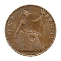 KM# 810 - One Penny - Freeman 182 (2+B) - George V - Great Britain 1918 (F)