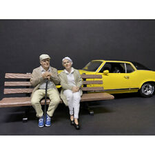 SITTING OLD COUPLE 2 PIECE FIGURINE SET 1/18 BY AMERICAN DIORAMA 38234-38235