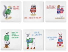 Christmas Sweaters Xmas Cards Set of 6 Kitsch Cute Owl Deer Cat Lemur Squirrel