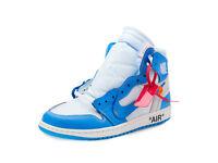 "Nike Mens Air Jordan 1 X Off White NRG ""UNC"" White/Dark Powder Blue AQ0818-148"