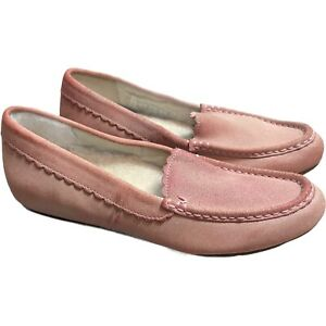 Vionic Haven McKenzie Suede Faux Shearling Pink Orthopedic Comfort Slipper Shoe