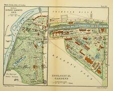 1891 VICTORIAN MAP STREET PLAN LONDON ~ ROYAL BOTANIC GARDENS KEW ZOOLOGICAL