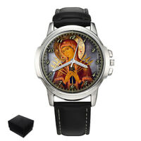 RUSSIAN ORTHODOX ICON MOTHER OF GOD MENS WRIST WATCH GIFT ENGRAVING