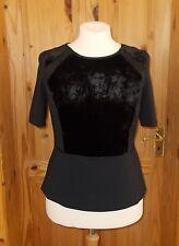 PER UNA SPEZIALE black SILK velvet short sleeve tunic blouse top 14 42 M&S