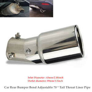 Car Rear Bumper Bend Tail Throat Liner Pipe Exhaust Muffler Tip Stainless Steel