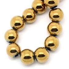 Lot 10 Perle Hematite Doré 8mm Perle Hématite Creation bijoux, bracelet, Collier