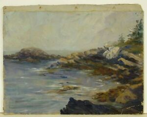 Antique Seascape Oil Painting BROWN'S POINT, SOUTHPORT Rocky Shoreline, Unframed