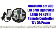 5M SMD 5050 RGB 300 LED Strip Adapter IR 48 keys Remote Receiver Kit UK