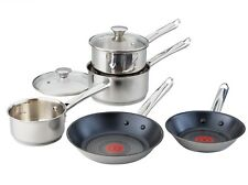 Tefal Elementary 5 Piece Pan Set Non-Stick Induction Stainless Steel Glass Lids