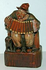 Vintage Signed Anri Italy Carved Wood Man Playing Squeeze Box / Dog