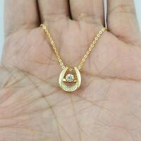 Women 14k Yellow Gold Dancing Round Diamond Solitaire Pendant Necklace