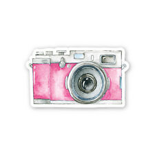 Vintage Pink Watercolour Camera Sticker Decal