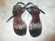 Sam & Libby Girls Sandals Black and clear floral sandals-child's size 11