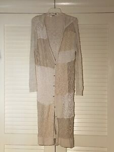 FREE PEOPLE Long Hooded Patchwork Textured Cotton Cardigan M NEW