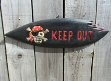 Hand Carved Made Wooden Skull Pirate Keep Out Gothic Surfboard Wall Plaque Sign