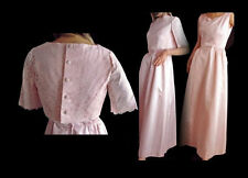 Mod Vintage 60s Formal Pink Satin Dress With Lace Bolero Jacket S