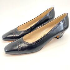 Salvatore Ferragamo Womens Black Leather Low Heel Square Cap Toe Pumps Size 8