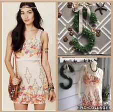Free People Dress Big Bang Boho Beige Crochet Lace Aztec Floral Size 6