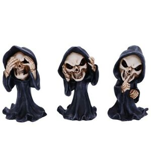 Three Wise Grim Reapers of Death See No Hear No Speak No Evil Figurines Ornament