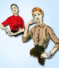 1950s Vintage Vogue Sewing Pattern 8176 Uncut Misses Blouse Size 14 32 Bust