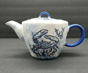 "NEW~Spectrum Designz ""Chesapeake Bay Blue Crab""~Coastal Ceramic Teapot & Lid"