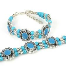 HOT Free shipping New Tibet silver multicolor jade turquoise bead bracelet