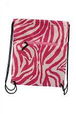 Hot Pink Zebra Drawstring Backpack Bag