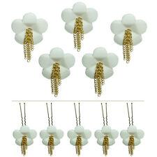 5 épingles pics cheveux chignon mariage mariée fleur blanche chainettes dorées
