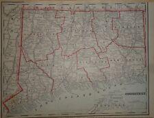 Vintage 1891 ~ Connecticut Map ~ Old Antique Original Atlas Map 92217