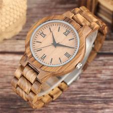 Bamboo Wooden Watch Case Wirstwatch Bracelet Analog Quartz Adult Wood Watches