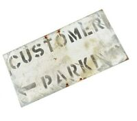 Vintage Steel Sign Customer Parking Black White Patina