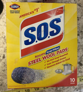 SOS CLOROX Reusable soap filled STEEL WOOL PADS 10 Pack NEW with FREE SHIPPING
