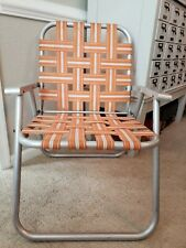 Vintage Aluminum Webbed Folding Beach Lawn Chair Mid Century Retro Free shipping