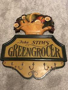 John Stims Greengrocer Wooden Vintage Coat Hooks Pub Sign