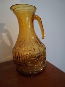 Vintage Italian retro Enesco amber glass decanter