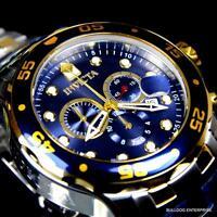 Invicta Pro Diver Scuba Silver Gold 2 Tone Blue Steel 48mm Chronograph Watch New