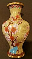 BEAUTIFUL ANTIQUE CHINESE CLOISONNE VASE 7 INCH TALL PRE-1940 CHERRY BLOSSOM