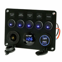 12V 5-Gang On-off Switch Panel 2 USB Charger for Car Boat Marine RV Truck Camper