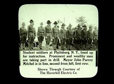 2 Magic Lantern Slides Student Soldiers Plattsburg NY West Point Graduation WWI