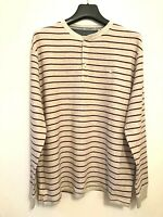 MANTARAY MENS MAROON STRIPED LONG SLEEVE GRANDAD TOP - SIZE LARGE BNWT RRP £42