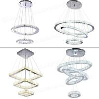 Modern Chandelier LED Crystal Pendant Lamp Round Ceiling Light Hanging Fixtures