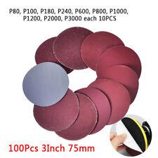 "Hot 100Pcs 3""Inch 75mm Sandpaper Sander Disc Mix Sanding Polishing P80-P3000 Pad"