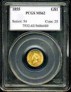 1855 G$1 Indian Princess Head Type 2 Gold Dollar MS62 PCGS 3686480
