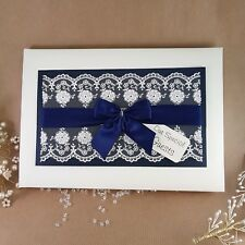 personalised wedding guest book lace and navy/midnight blue trim