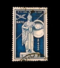 Greece - 1954   -5th. Anniversary of NATO  -Used  Blue Air Mail