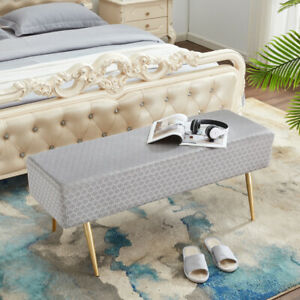 45.7 Inches Velvet Ottoman Rectangular Bench Footstool, Bed End Bench with Golde